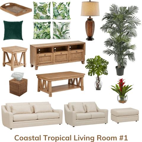 Coastal tropical living room 1