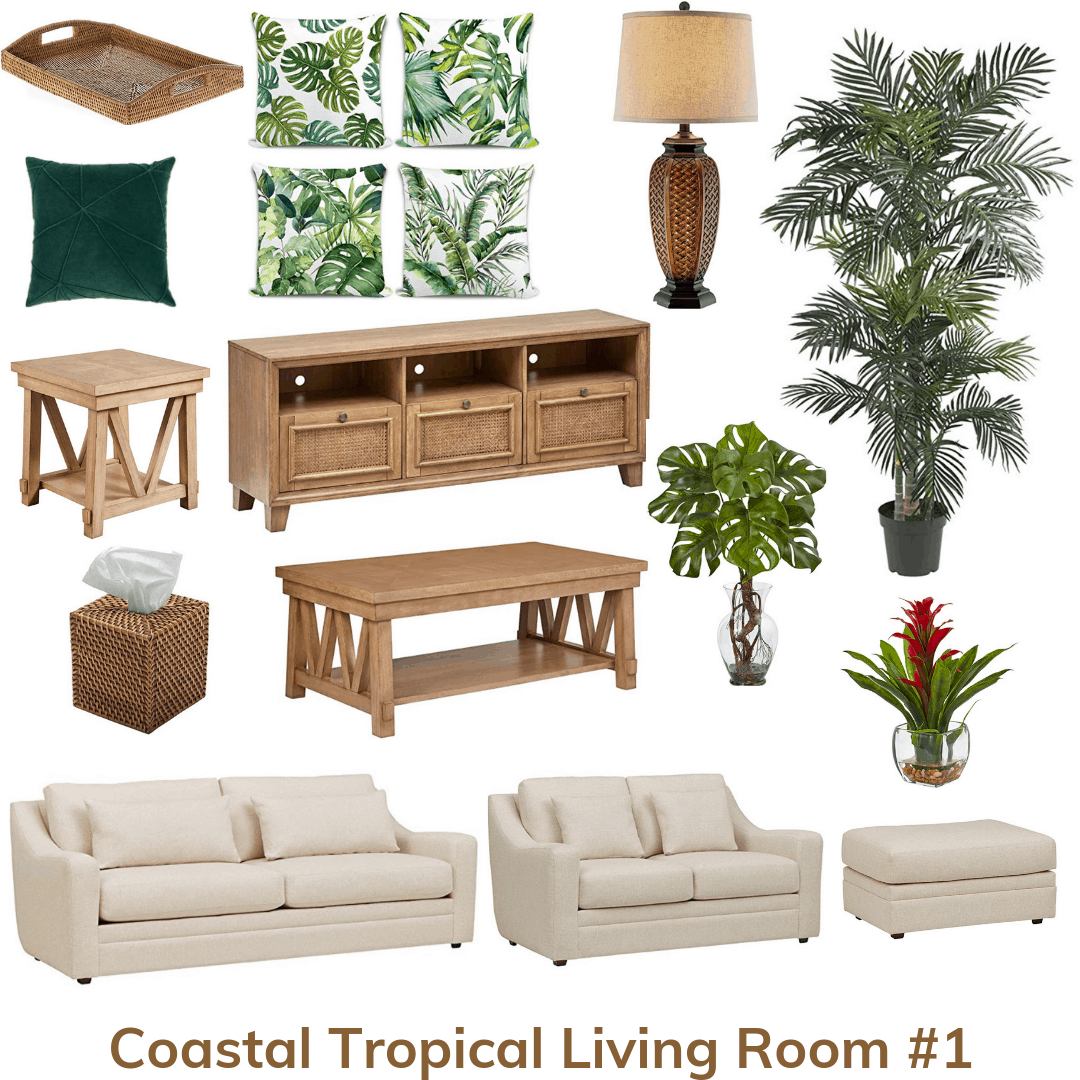 Coastal tropical living room 1
