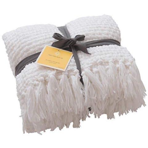 Melody House Plaid Pattern Throw Blanket, Antique White