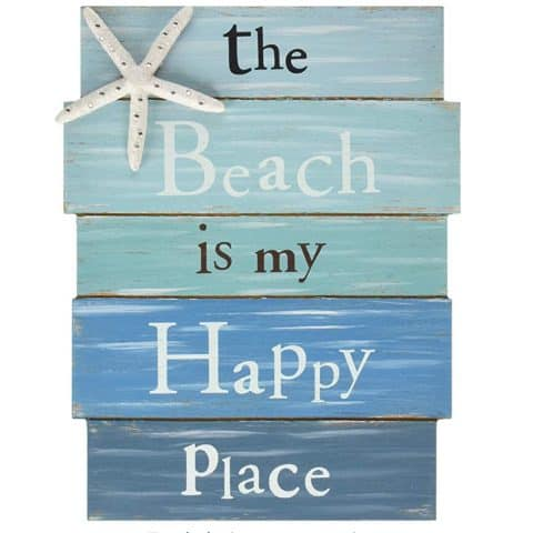 The beach is my happy place sign