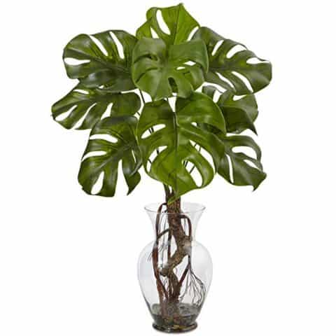Nearly Natural Monstera Plant with Vase, 26 inch