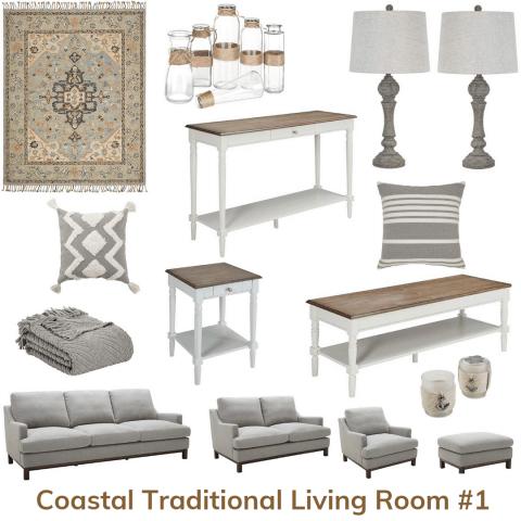 Coastal traditional living room 1