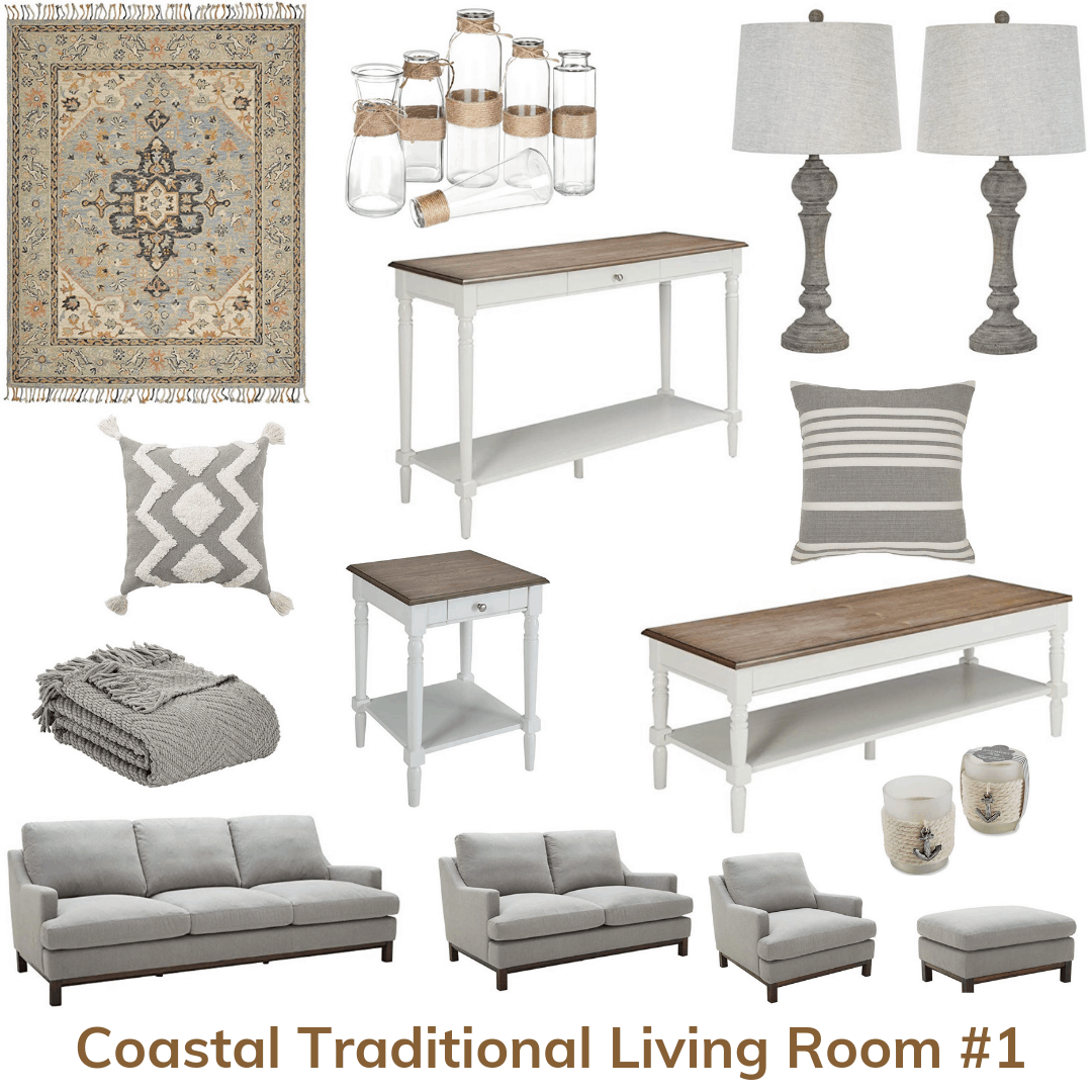 Coastal traditional living room 1