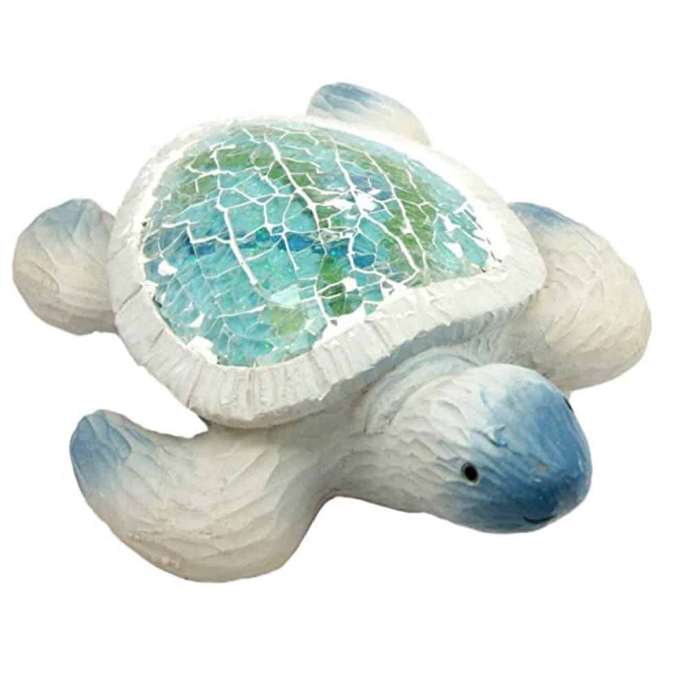 Ebros Coastal Ocean Giant Sea Turtle Statue With Crushed Glass Mosaic Shell