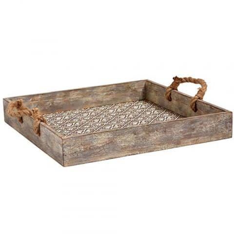 Stone & Beam Rustic Farmhouse Wood Serving Tray With Patterned Rattan and Rope Handles