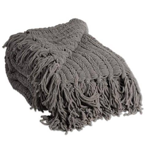 J&M Home Fashions Luxury Chenille Throw Blanket, Gray